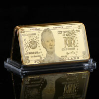 WR United States $5 Five Dollar .99 24K GOLD Art Bar US Dollar Note Collectibles