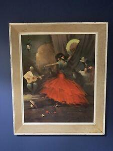 Famous Mid Century Vintage Framed Print 'Spanish Dance' 1960's Juan Giralt Lerin