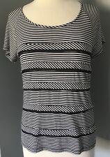 Chico's Short Sleeve Knit Top Black White Stripes Chiffon Trim Scoop Neck 1 M 8