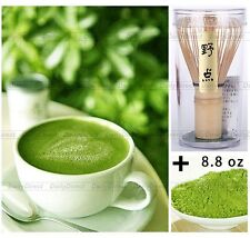 Pure Organic Matcha Green Tea Powder 250g bag+ Japanese Chasen Bamboo Whisk