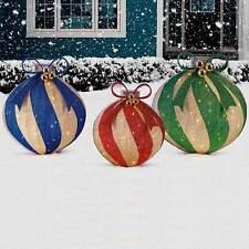 Large Christmas Indoor Outdoor Pop Up Ornaments! 3 Huge Baubles 240 LED Lights