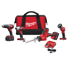 NEW Milwaukee 2695-24 18V Li-Ion 4 Piece Cordless Drill Tool Kit w/ 2 Batteries