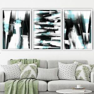 3 Abstract Black & Aqua Art Prints from Original Textured Painting Mix Size V3