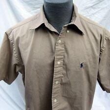 Men's Polo Ralph Lauren Blake Short Sleeved Brown Beige Button Up Shirt Size M