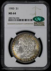 1900 $1 Morgan Silver Dollar NGC MS 64 CAC | Uncirculated BU Halo Toning Color!