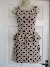 Womens Size 10 Beige Black Spotty Dress LADIES PARTY SMART SUMMER WORK EVENING