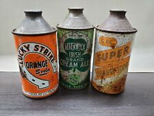 VERY RARE 3 GENUINE 1940's Cone Top Beverage Cans: Lucky Strike, C&C, Beverwyck