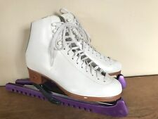 Riedell 121 Women's Girls Size 6 White Ice Skates Usa boot Canada blades Vintage