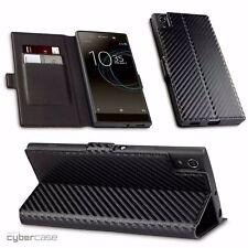 Sony Xperia XA1 ULTRA Carbon Fibre Design Cover Sophisticated Wallet Black Case