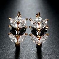 Gold Plated Earrings With Black And White Marquise & Round Cubic Zirconia Gems