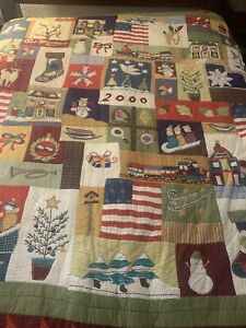 Pottery Barn 2000 Christmas Quilt Patchwork Full/Queen Cotton  Rare