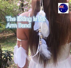 Women BOHO Syn suede White Feather Beach Wedding Bride Arm Chain Band jewellery