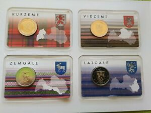 LATVIA 2 EURO € 2016-2018 BU 4 REGIONS COINCARDS LOW MINTAGE BEST PRICE!!