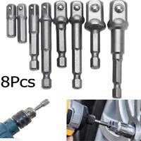 "8PCS Socket Bits Adapter Set Hex Drill Nut Driver Power Shank 1/4"" 3/8"" 1/2"" - S"