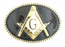 Masonic Masons Freemasonry Gold/Black Enamel Metal Belt Buckle