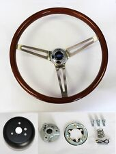 """84-89 Ford Mustang Wood Steering Wheel High Gloss 15"""" Ford Center cap(Fits: Lynx)"""