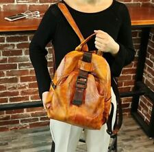 Women Retro Genuine Cow Leather Backpack Travel Bag Handbag Book Bag M Brown