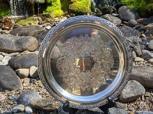 "Oneida Silversmiths 10"" Round Serving Drink Tray - Mu Phi Epsilon ""ΜΦΕ 5-13-72"""