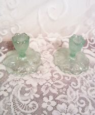Beautiful Fenton Ice/Mint Green Rainbow Carnival Glass CandleHolders VGUC