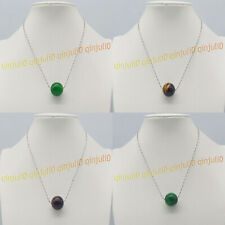 Huge Natural 20mm Emerald/Tigers Eye Round Gemstone Beads Pendant Necklaces 17''
