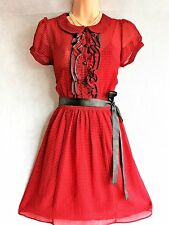 SIZE 8 40's LANDGIRL WARTIME VINTAGE STYLE SUMMER TEA DRESS GINGHAM US 4 EU 36