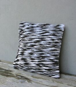 Handwoven Rag Couch Cushion, Decorative Pillow, Black and White