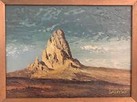 Vintage Canvas Oil Painting Desert Scene Named El Capitan Signed Leo Z Sherman