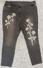 Ladies Joanna Hope black denim jeans w. rhinestone leg-detail  -  size 28