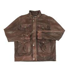 HUGO BOSS Calor-D Lambskin Leather Jacket | Vintage Biker Lamb Retro Brown