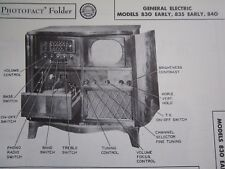 GENERAL ELECTRIC 830 Early, 835 Early, & 840 TELEVISION TV PHOTOFACT