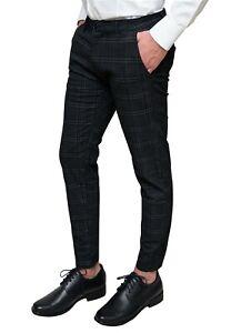 Pantaloni uomo Capri nero invernali tessuto quadri Principe di Galles elegante