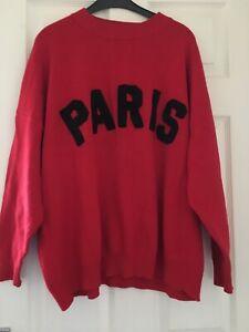 Dark Red Paris Oversize Motive Jumper Size