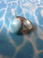 Natural Larimar Ring Solid 925 Sterling Silver Jewelry Size 7.5  #8