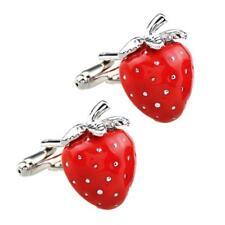 STRAWBERRY CUFFLINKS Red Enamel Fruit NEW w GIFT BAG Wedding Groom Fathers Day