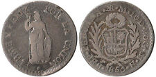 1850 (MB) Peru 1/2 Real Silver Coin KM#144.7