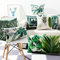 "18"" Plant Print Cotton Linen Pillow Case Sofa Office Cushion Cover Home Decor"