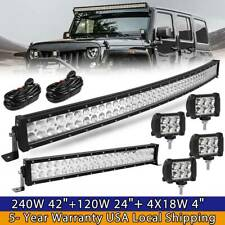 """42Inch LED Offroad Light Bar Combo + 22"""" +4"""" PODS SUV 4WD UTE For FORD JEEP 40"""""""