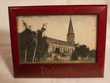 Antik Holz Bilderrahmen DIEDENHOFEN Lothringen m. AK Frankreich 1910 Thionville