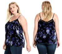 LUCKY BRAND ~ 1X ~ NWT Women's Blue Black Floral Velvet Cami Sleeveless Tank Top