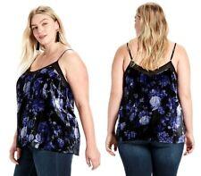 Lucky BRAND 2x Women's Blue Black Floral Velvet Cami Sleeveless Tank Top