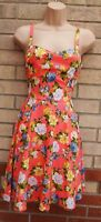 INNOCENCE PINK YELLOW GREEN FLORAL SKATER FLIPPY A LINE SUMMER HOLIDAY DRESS 12