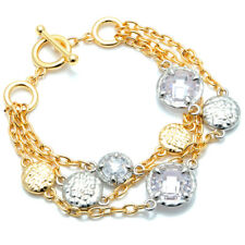Layered Linked Toggle Bracelet With Charms & Cubic Zirconia In Gold Tone
