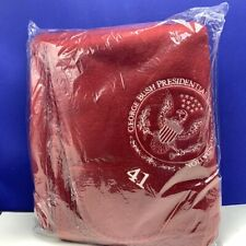 George Bush Presidential liberty foundation Fleece throw blanket 48X63 red 41 Us