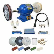 "6"" Bench Grinder 375W Bench Polisher With 25pc Deluxe Metal Polishing Kit"