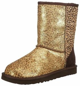 UGG 1005329 Classic Short Gold Metallic Leopard Genuine Calf Hair Boot, 9M