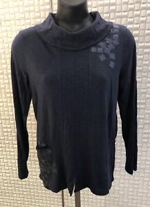 Yarra Trail Designer Top, Navy Blue, Size M, Cotton, Pocket, Collared, Beautiful