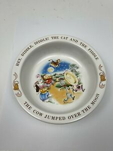 Vintage Avon Hey Diddle Diddle Cat Fiddle Child's Bowl Nursery Rhyme 1984