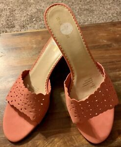 NEW Women's Naturalizer Slides Sandals Wedges Shoes Leather Peach Salmon 12W