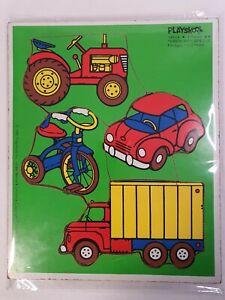 Playskool Puzzle Things With Wheels Vintage Wood Puzzle