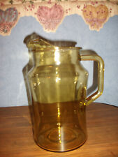 "Vtg. Amber Water/Beverage Pitcher with Ice Lip- 8.5"" Tall"